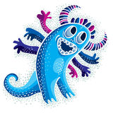 Комический персонаж, изверг сини чужеземца вектора смешной усмехаясь Emotio Стоковые Изображения RF