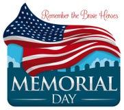 Коммеморативный дизайн на День памяти погибших в войнах с флагом и кладбищем, иллюстрацией вектора Стоковое Изображение