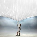 Коммерсантка вытягивая знамя Стоковые Фотографии RF