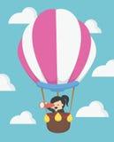 Коммерсантка в горячем воздушном шаре, ВЕКТОРЕ, EPS10 бесплатная иллюстрация