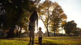 Коммерсантка в деловом костюме с меньшим младенцем говоря на смартфоне и идя в парк осени в свете захода солнца самомоднейше акции видеоматериалы