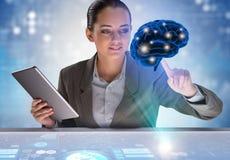 Коммерсантка в концепции искусственного интеллекта Стоковые Фотографии RF