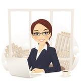 Коммерсантка в офисе иллюстрация вектора