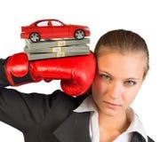 Коммерсантка в перчатках бокса Стоковое Изображение