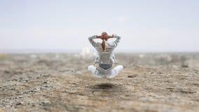 Коммерсантка в представлении лотоса Мультимедиа стоковая фотография