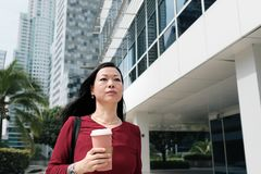 Коммерсантка говоря на сотовом телефоне и коммутируя стоковые фотографии rf