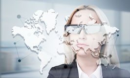 Коммерсантка глобальной вычислительной сети Стоковые Изображения RF