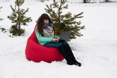 Коммерсантка девушки сидя с компьтер-книжкой в стуле в парке зимы Работа и отдых в то же время Стоковое Изображение RF