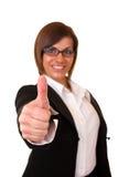 коммерсантка держа успешные большие пальцы руки вверх Стоковые Фото