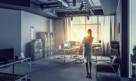 коммерсантка ее офис Мультимедиа Стоковое фото RF