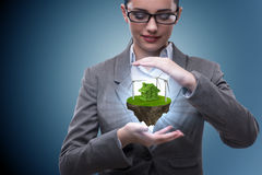 Коммерсантка держа остров летания в концепции eco Стоковое Фото
