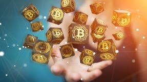 Коммерсантка используя перевод cryptocurrency 3D bitcoins Стоковое фото RF