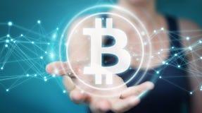 Коммерсантка используя перевод cryptocurrency 3D bitcoins Стоковые Изображения