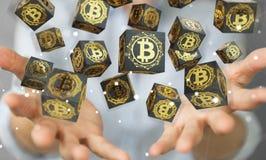 Коммерсантка используя перевод cryptocurrency 3D bitcoins Стоковые Изображения RF