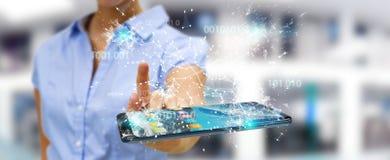 Коммерсантка используя цифровой бинарный код на rende мобильного телефона 3D Стоковые Фотографии RF