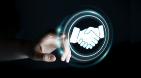 Коммерсантка используя цифровое представление для дела партнерства Стоковые Фото