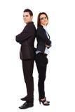 Коммерсантка и бизнесмен в полнометражном представлении Стоковое Изображение RF
