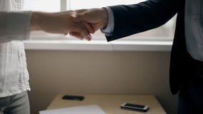 Коммерсантка и бизнесмен стоя вверх и тряся руки после переговоров акции видеоматериалы