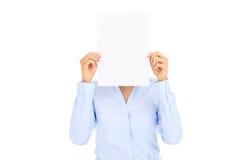 Коммерсантка и чистый лист бумаги Стоковое Изображение