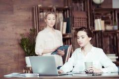 Коммерсантка при цифровая таблетка смотря коллеги используя компьтер-книжку Стоковые Фото