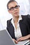 Коммерсантка работая на компьютере Стоковые Изображения