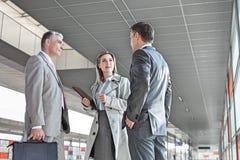 Коммерсантка связывая с мужскими коллегами на платформе поезда Стоковая Фотография RF