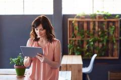 Коммерсантка стоя в офисе используя цифровую таблетку Стоковые Фотографии RF