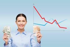 Коммерсантка с деньгами наличных денег доллара и евро Стоковое Фото