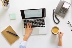 Коммерсантка с компьтер-книжкой и кофе на офисе Стоковая Фотография