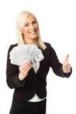 Коммерсантка с сериями денег Стоковая Фотография