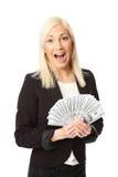 Коммерсантка с сериями денег Стоковые Фото