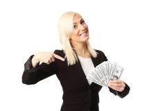 Коммерсантка с сериями денег Стоковые Фотографии RF