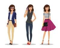 Коммерсантка с сумкой, маленькая девочка делая selfie и романтичная девушка стиля Женщины в одеждах моды иллюстрация вектора