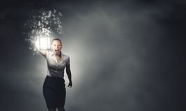 Коммерсантка с фонариком Стоковое Фото