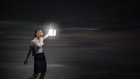 Коммерсантка с фонариком Стоковые Фотографии RF