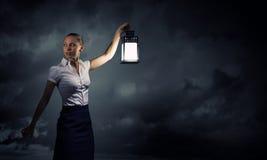 Коммерсантка с фонариком Стоковая Фотография RF