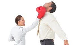 Коммерсантка ударяя бизнесмена с перчатками бокса Стоковые Изображения RF