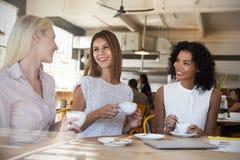 3 коммерсантки встречают в кофейне снятой через окно стоковые фотографии rf