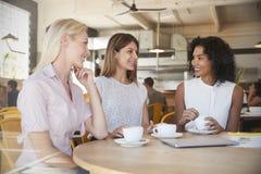 3 коммерсантки встречают в кофейне снятой через окно Стоковая Фотография RF