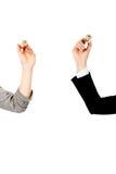 2 коммерсантки держа карандаши Стоковое Фото
