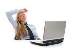 коммерсантки имея головную боль быть утомлянным Стоковое фото RF