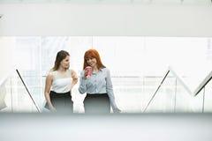 Коммерсантки имея кофе пока двигающ вверх шагает в офис Стоковые Фотографии RF