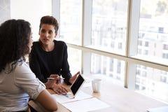 2 коммерсантки используя таблетку цифров в встрече офиса Стоковые Изображения RF