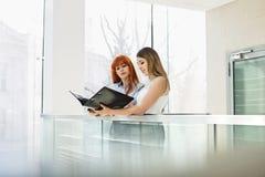 Коммерсантки обсуждая над папкой файла в офисе Стоковое Изображение