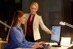Коммерсантки при компьютер работая поздно на офисе Стоковая Фотография