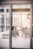 Коммерсантки сидя в кресле и имея переговор Стоковая Фотография