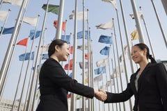 2 коммерсантки тряся руки с флагами в предпосылке. Стоковое Фото