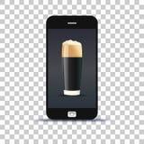 Коммерциализируйте применение пива для мобильного телефона наклеил бумагу фото om стоковое изображение rf