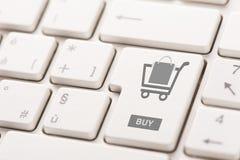 Коммерция интернета покупки ключевая показывая или онлайн концепция магазина Стоковое Изображение