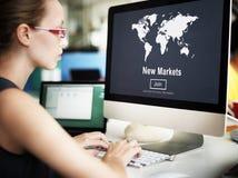 Коммерция новых рынков продавая концепцию маркетинга глобального бизнеса стоковые фото
